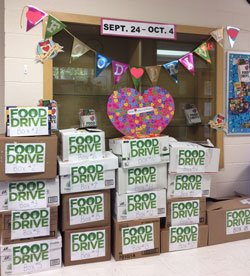 Food drive boxes with heart