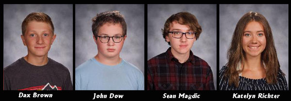 Photos of four students who earned perfect scores