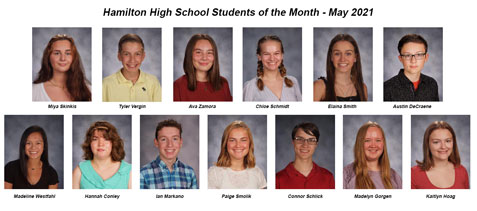 Photo panel of 13 students of the month